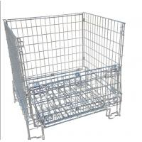 China Galvanized Collapsible Wire Container / Wire Mesh Palle Cage For Warehouse on sale