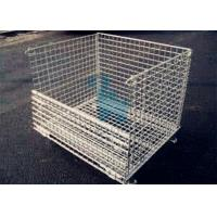 China Galvanized Finish Logistic Wire Mesh Cages / Folding storage cage on sale