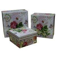 China Square Keepsake Gift Boxes Bottom Paper Cardboard Flower Pattern on sale