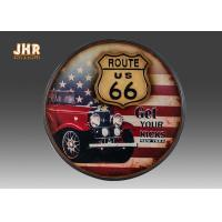 Route US 66 Wooden Wall Plaques Round Wood Wall Hanging Signs Antique Pub Sign Manufactures