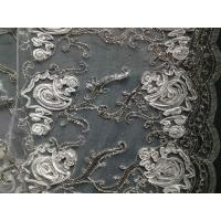 Spandex Tulle Sequin Embroidered Fabric White , Embroidered Tulle Fabric Manufactures