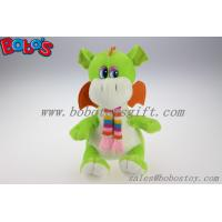 100% Polyester Green Cuddly Plush Dinosaur Toy With Scarf For Kids Manufactures