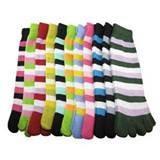China Eco friendly colorful women Stripe Microfiber kint five fingers toe socks on sale