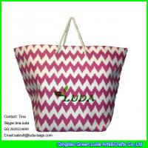 LUDA rope handles summer straw handbags big size beach paper straw bags