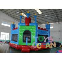 China Blue Inflatable Bounce House With Panel , Inflatable Moonwalks For Rent on sale