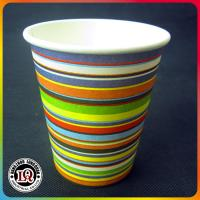 Single Wall Beverage Paper Cup with Colorful Zebra Stripes Manufactures