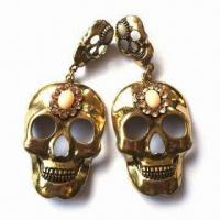 Fashionable Skull Drop Earrings with Stones, Various Designs/Colors Available, OEM Orders Welcomed Manufactures