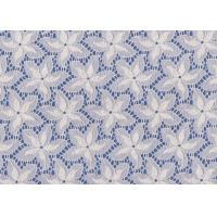 Blue / White Floral French Lace Fabric By The Yard For Swimwear / Toy Manufactures