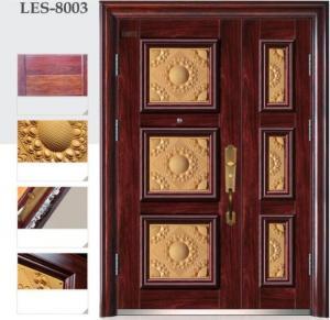 Quality Antitheft security metal door luxury cast aluminum spliced unequal double door for sale
