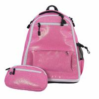 China Fashionable Pink Glitter Sparkle Cheerleading Bag With Water Bottle Holders on sale