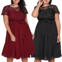 Plus-size new lace patchwork lace-up dress with short sleeves Manufactures