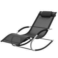 China Rocking Sun Lounge Chair Iron Structure Adjustable Position All Weather Resistant on sale