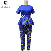 Ankara Fabric African Print Pants With Kitenge Style Short Sleeve Tops Manufactures