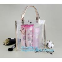 promotional clear pvc cosmetic bags handle zipper for sale, eco soft loop die cut pvc clear handle plastic shopping bags Manufactures