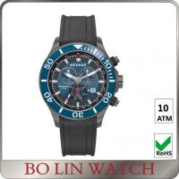 Quality Red Pointer Outside Rubber Strap Watches , Black Chronograph Automatic Watch for sale