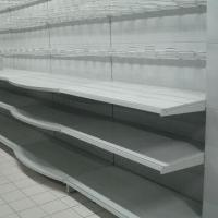 Display Shelves for Supermarket, with Reinforced Bars at Bottom Manufactures