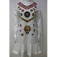 Long Sleeve Embroidery Floral Dress For Spring / Autumn 100 Percent Cotton Manufactures