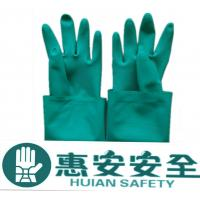 Green Nitrile Industry Unlined Straight Cuff Safety Gloves Manufactures