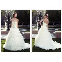 China Custom Made Fitted A Line Wedding Dress / Classic Sparkly Ball Gown Wedding Dress on sale