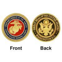 China Fancy American Marine Corps Colorful 24K Gold Plated Coin Challenge Coin Medal 40*3 Souvenr Commemorative Coin on sale