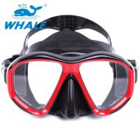 UV400 Protection Anti Fog Diving Mask With Tempered Glass Lens , black red Manufactures