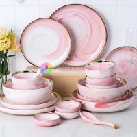 China Gold Decal Marble Porcelain Dinnerware Sets Food Contact Safe Type on sale