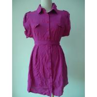 100 Viscose Purple Button Up Blouse Dress , Waist Belt Office Shirt Dress OEM Available Manufactures