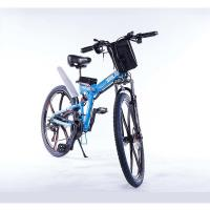 Blue 26 Inch Folding Electric Mountain Bike Hidden Battery 48V 350W Manufactures