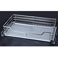 3 Sides Pull Out Wire Baskets , Stackable Design Sliding Baskets For Cabinets Manufactures