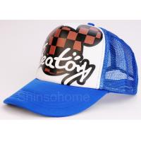 Blue Cotton Mesh College Trucker Hats / Baseball Caps 5 Panel For Sports Manufactures