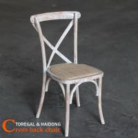 Wholesale Antique Limewash White Solid Wood Cross Back Banqeut Chairs Manufactures