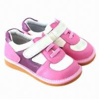 China Children's casual/squeaky/soft sole leather shoes, elastic ankle design, eco-friendly on sale