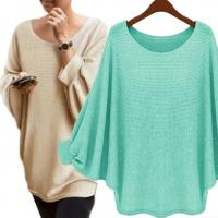 Solid Color Batwing Sleeve Jumper High Low Pullover Sweater Casual Clothes Manufactures