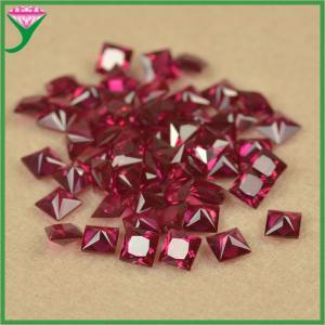 high quality 8# square princess cut dark red synthetic original ruby corundum gems stone Manufactures