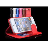 Hybrid Wallet Apple iPhone PU Leather Cases Stand for iphone 5 , Black / White / Red Manufactures
