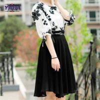 Fashion set contrast floral embroidery blouse skirt old ladies clothing 2018 fashion women long chiffon dress sale Manufactures