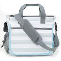 China Baby Diaper Tote Bags Stylish Grey Stripe Diaper Tote Organizer Bag -11 Pockets to Keep Everything Secure on sale
