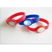 China Red Blue Custom Silicone Bracelets With Flash Light for Concert on sale