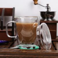 High quality crystal double wall glass cup/coffee glass mug,Borosolicate 330ml handblown tea and coffee glass Manufactures