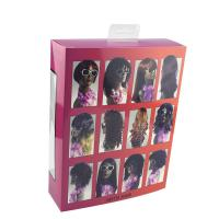 China Rainbow Hair Extension Paper Box With Customized Size And Clear Window on sale