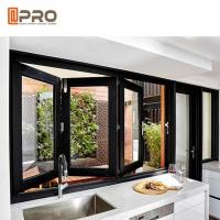 China Water Proof Aluminum Bifold Windows Color Customized With Double Glass on sale