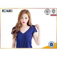 Deep v neck women blank T shirts ,cotton sex t-shirt  blue color Manufactures