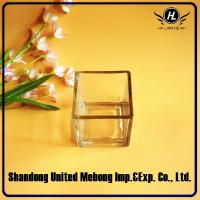 Quality clear square glass candle jar/glass candle holder in different size for sale