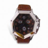 Stainless Steel Watch with Genuine Leather Watch Band and Swiss Multifunctional Watch Movement Manufactures