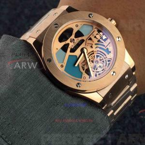 Quality Perfect Replica Hublot Yellow Gold Bezel Hollow Tourbillon Dial 45mm Watch for sale