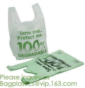 China compostable t shirt bag,100% Biodegradable Compostable Plastic bag,EN13432 certified compostable bag biodegradable plast on sale