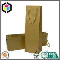 Single Bottle Red Wine Paper Bag; Gold Color Paper Wine Bag with PP Handle Manufactures