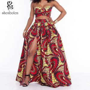 Suits Dress Clothing African Wax Print Short Tops Long Skirt Set Split Front Manufactures
