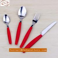 Wholesale Camping 16pcs Tomato Plastic Round handle Cutlery Set Manufactures