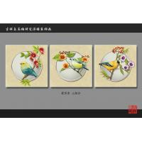 Water Resistant Faux Tile Wall Panels Art Painting Bird Flowers Pattern Manufactures